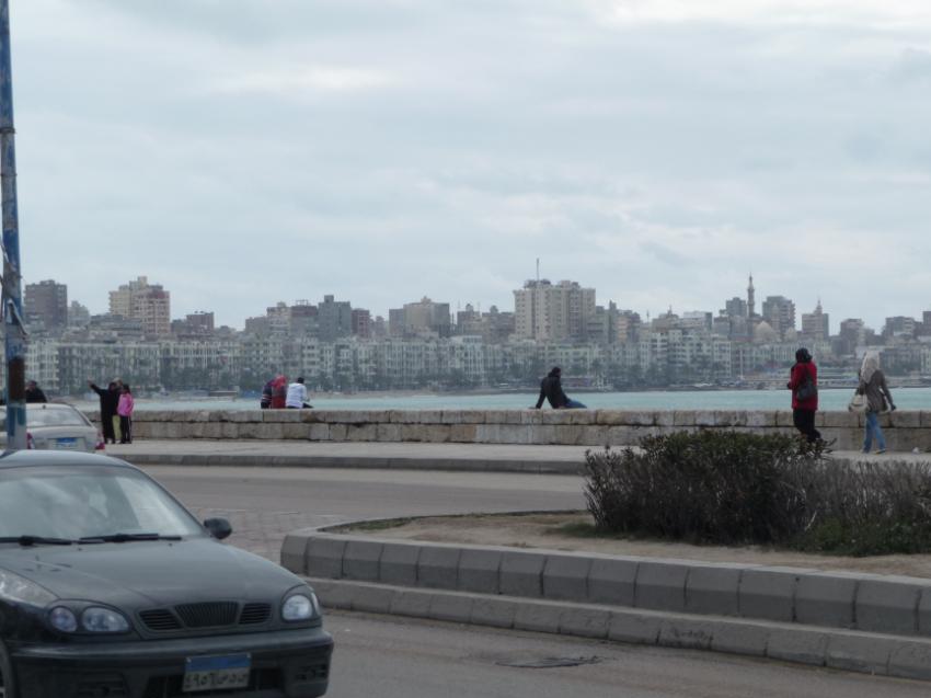 The Corniche, 22km long on the Mediterranean, Alexandria