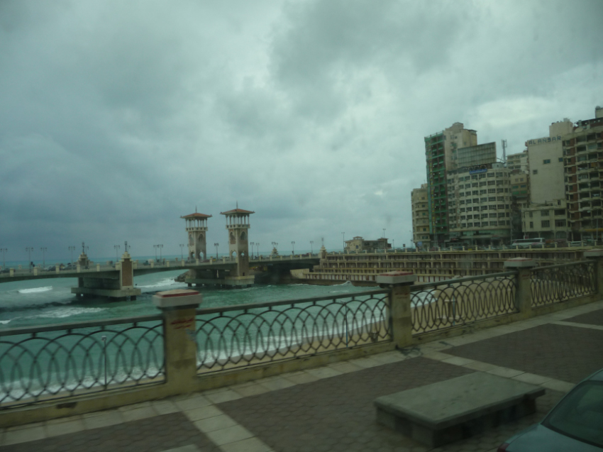 Stanley Bridge and Stanley Bay, Alexandria.  Note the bathing boxes.