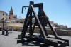 Reconstructed medieval catapult on the port