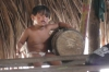 Young indigenous boy learning the beat, Cipiá Indigenous Village, Rio Negro BR