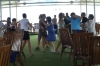 Brazilians & Portuguese enjoying a lunchtime disco on the Iberostar Grand Amazon, Rio Negro BR