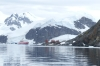 SS Expedition and Brown Station (Argentina) from Paradise Harbour, Antarctica