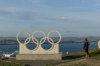 Pat and the Olympic rings (2012 London Games, sailing), Isle of Portland UK