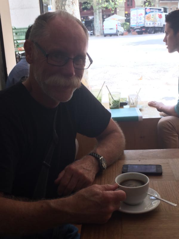 Bruce enjoying his first coffee in Federal, Barcelona