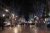Christmas lights in La Ramblas at night