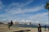 Slack lining on Barceloneta Beach