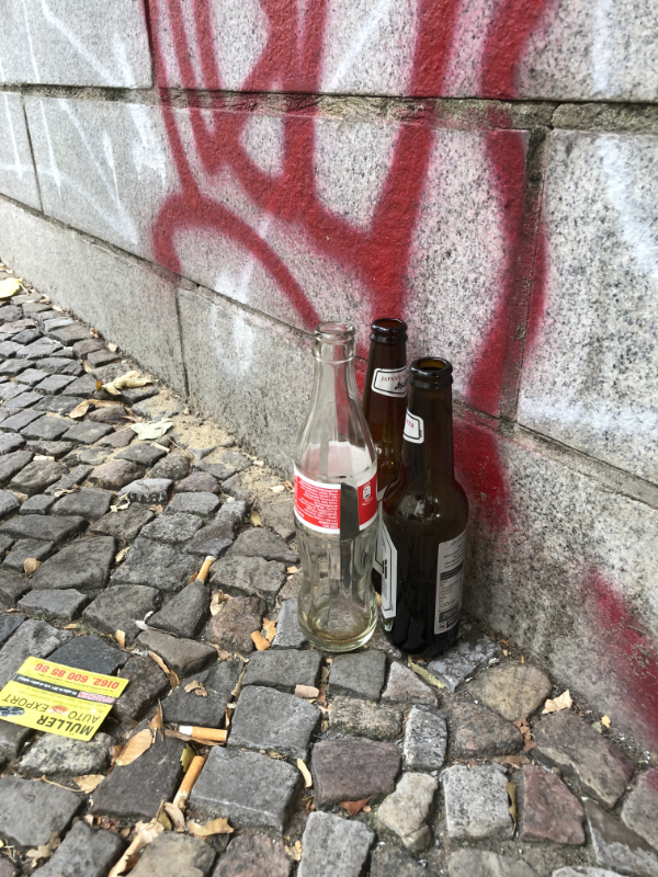'Left Bottles' to be picked up by a vagrant for pocket money. Berlin DE