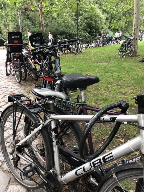 Bikes parked for a concert in Friedrichshain Volkspark, Berlin DE