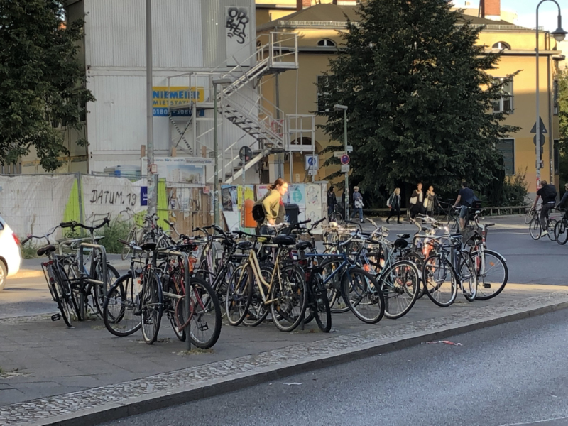Bikes parked beside a U-bahn station, Berlin DE
