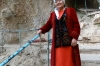 Lady in Kyrgyz dress. Twin Waterfall (Vodapad), Arslanbob