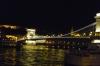 Széchenyi Chain Bridge on the Danube River at night. Budapest HU