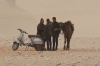 Egyptians looking for tourists with their horses, sand storm, Pyramids of Giza EG