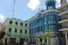 Colourful buildings in Plaza de los Trabajadores, Camaguey CU