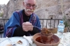 Rugged up for Claypot dinner at Kove, Göreme