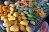 Varieties of mangoes. Market day in Uman