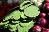 Nopales (cactus pad) is popular. Market day in Uman