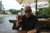 "Bruce tries a beer at the ""Two Mary's"" restaurant, cesky Krumlov"