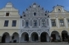 Colourful  houses with arcades and ornamental gables ring Zachariáš of Hradec Square, Telč CZ