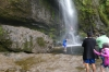 Jumping into the pond, with rope around waist for quick exit. Cascade El Chorro (waterfall) EC