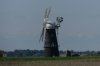 Windmill and broads at Burgh Castle, Norfolk UK