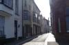 Narrow street in Cromer on Norfolk Coast UK
