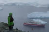 At the top of Danco Island in the Errera Channel, Antarctica