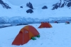 Sleeping on the ice at Leith Cove in Paradise Bay. Antarctica