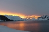 Sunset from the campsite at Leith Cove in Paradise Bay. Antarctica
