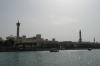 Palace and Grand Mosque with respective minarets on the Dubai Creek