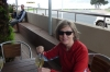 Thea enjoys draft ginger beer at Palm Beach, Waiheke Island, Auckland NZ