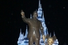 Walt Disney & Mickey Mouse in front of the Cinderella Castle, at night, Disney World Magic Kingdom FL