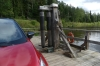 Crossing the Gauja River by hand operated ferry at Līgatne LV
