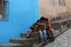Three little boys and a new book, in Guanajuato