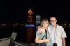 Bruce & Thea in front of the sun and moon pagados in Guilin, China