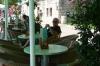 Bruce enjoys a coffee in Bol
