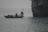 Fishermen pulling up nets on Halong Bay