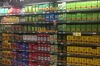 Supermarket shelves full of Yerbe - the national drink of Uruguay