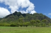 Mountains from Kualoa Regional Park, Oahu HI USA