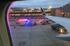 Police and ambulance at Newark Airport after a disruptive passenger from Iceland, USA