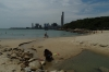 Hung Shing Ye beach, Lamma Island, Hong Kong with power station behind