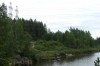 Power lines and the Vuoski River before the rapids at Imatra FI
