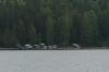 Boat sheds opposite Lammassaaren Forest Walk near Imatra FI