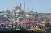 Suleymaniye Mosque and Boats from Galata Bridge Istanbul TR
