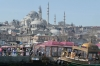 Suleymaniye Mosque and Boats from Galata Bridge Istanbul