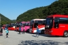 Dozens of buses and hundreds of (mostly women) Koreans who hiked in the Seonunsa Provincial Park, South Korea