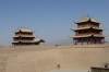 Gate houses. The Great Wall at Guan Cheng, Jiayuguan
