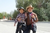 Little boy and his dad. He fell over & I provided some first aid. The Great Wall at Guan Cheng, Jiayuguan