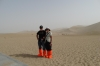 Bruce & Thea in sand boots, The Singing Sand Mountains and Crescent Spring, Dunhuang
