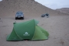 Camping at the Darvaza Gas Crater, with wind all night and sleet in the morning TM