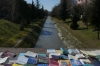 Books for sale on the bridge of the Lana River, Tiranë AL